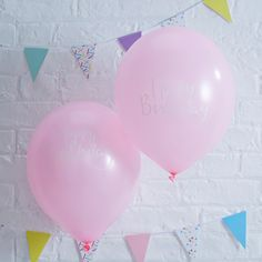 Pink Happy Birthday Balloons from PartyDelights.co.uk