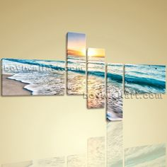 "Huge High Quality Giclee Prints On Canvas Contemporary Landscape Beach Ocean Extra Large Wall Art, Gallery Wrapped, by Bo Yi Gallery 76""x44"". Huge High Quality Giclee Prints On Canvas Contemporary Landscape Beach Ocean Subject : Beach Style : Photography Panels : 5 Detail Size : 24""x16""x2,8""x30""x3 Overall Size : 76""x44"" = 193cm x 112cm Medium : Giclee Print On Canvas Condition : Brand New Frames : Gallery wrapped [FEATURES] Lightweight and easy to hang. High revolution giclee..."