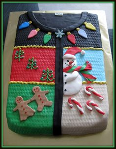 Ugly Christmas sweater cake for the ultimate ugly Christmas sweater party. i want to have an ugly Christmas sweater party this year, for sure, or at least go to one lol Christmas Goodies, Christmas Treats, Christmas Baking, Holiday Fun, Christmas Holidays, Christmas Cakes, Holiday Cakes, Christmas Parties, Xmas Party
