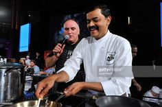 Jose Andres (L) and K.N. Vinod speak on stage at DC Central Kitchen's Capital Food Fight at the Ronald Reagan Building on November 12, 2015 in Washington, DC.