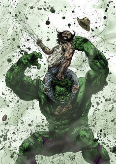 Wolverine vs Hulk by Guiu Vilanova << This is amazing. Comics Anime, Bd Comics, Marvel Comics Art, Hulk Marvel, Marvel Heroes, Hulk Avengers, Captain Marvel, Comic Book Characters, Marvel Characters
