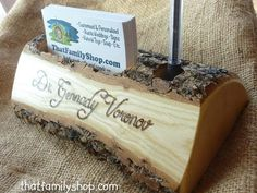 Rustic Business Card and Pen Holder with Custom Names, Initials, Personalized Office Desk Decor