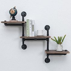 MBQQ Industrial Bookshelf Pipe Shelves 3 Tiers,Rustic Wood Shelf Wall Mounted,Metal Corner Hung Bracket Shelving Floating Shelves Steampunk Decor - Home Professional Decoration Industrial Home Design, Industrial Pipe Shelves, Galvanized Pipe Shelves, Black Pipe Shelving, Wood And Pipe Shelves, Wall Mounted Wood Shelves, Pipe Bookshelf, Iron Pipe Shelves, Rustic Shelving