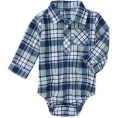 Faded Glory Newborn Boys' Plaid Flannel Creeper: Baby Clothing