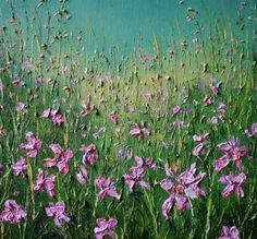 The delicate Pink Gaura amongst the grasses, this painting was created applying heavy body acrylics with a palette knife giving the finished work a structural quality . The painting is sold unframe...
