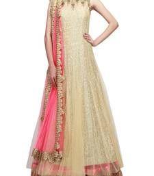 Buy beige embroidered net semi stitched salwar party-wear-salwar-kameez online