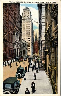 Wall Street Looking West New York City Vintage circa 1920s Postcard. $6
