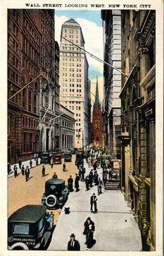 Wall Street Looking West New York City Vintage circa 1920s Postcard. $6