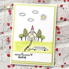Stempellicht: Hochzeitskarte mit Stadt, Land, Gruß