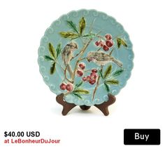 French Antique Majolica Bird and Cherry Plate. Hand Decorated Ceramic Wall Plate. Antique French Plate. Turquoise Majoli