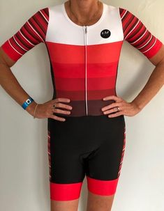 Short Sleeve Aero Tri Suit - Red Stripes