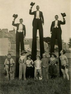 Circus performers on stilts