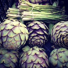 artichokes and asparagus at the santa monica farmer's market. spring!