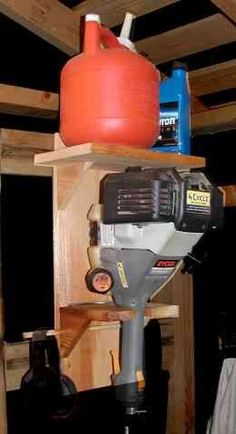 Weed Whacker Stand   A weed whackers is one of those tools that is always in the way because they are hard to store. You can't stand them up very well and when you lay them down you always trip over them. This simple little stand is easy to build and solves the storage problem once and for all.: