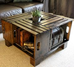 how to build a coffee table out of wooden crates coffee table made