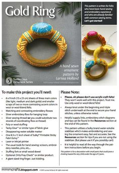 Gold Ring PDF pattern for a hand sewn wool felt by mmmcrafts