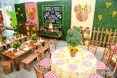 024 Red Gingham Plaid Panel, Yellow Gingham Plaid Panel, Hedge Panels, Fence of Hedge Panels, Custom Chalkboard Sign, Hedge Rustic Wagon Used as Sweets Table, Bar Crates, Yellow Gingham Linen for Adult Tables, Mini Farmhouse Tables, & Benches - Event Planning: One Inspired Party