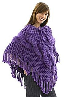 Knit Chunky Cabled Poncho ~ Love the chunky look. Not sure I'd use it in a poncho, maybe an afghan.