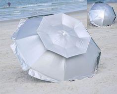 Amazon.com: 6 ft Solar Guard Dual Canopy Beach Umbrella - UPF 150+ Wind / Water Resist: Sports & Outdoors
