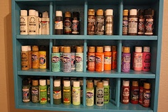 Keep your paints separated by colors ... it's sooo much easier to find what you need and compare shades.
