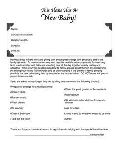 The first few weeks with a newborn is very important to bond, establish breastfeeding, and adjust to new life, but it can be difficult when loved ones want to share the joyous occasion. The Leaky Boob created a sample New Baby Help Sheet you can post on your door to help alleviate any misunderstandings. Help them help you!