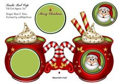Santa Red Cup Full Quick Card on Craftsuprint designed by Maria Christina Vieira… Christmas Decoupage, Christmas Card Crafts, Christmas Labels, Christmas Printables, Christmas Projects, Christmas Photo Booth, Christmas Gift Box, Noel Christmas, Step Cards