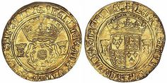 A crown coin from the reign of Henry VIII during his marriage to Jane Seymour. On it are the crowned Tudor rose, Henry's emblem. And also the intials 'H' and 'I', also both crowned. The 'H' for King Henry and the 'I' for Queen Jane.