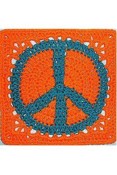 [Free Crochet Pattern] Bright peace sign granny square to crochet