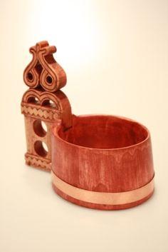 "Traditional wooden mug called ""crpak"" / tradičný slovenský bačovský riad ""črpák"" Folk Art, Cuff Bracelets, Arts And Crafts, Good Things, Traditional, How To Make, Leather, Diy, Jewelry"