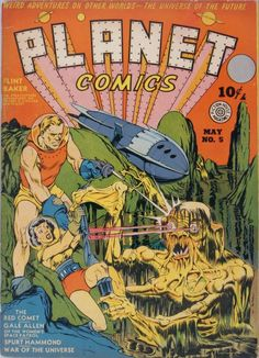 Had to quickly revisit Lou Fine. I love how his heroes and heroines share equally in the action, and are often both portrayed as sex objects.  The spacewoman here is fighting for her life and not just terrified and in distress. Also, love the shear horror of the other alien creatures crawling out of the soupy river and onto land to join the attack. Gorgeously handled.