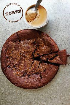 bitter chocolate + salted caramel torte