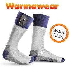 Features Carbon ceramic heating element is reliable and energy efficient, promoting longer battery life Socks are made of a warm, wool-rich material which will help to keep your feet toasty even when the socks are switched off Soft, stretchy cuff provides