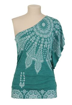 I don't think I could pull this off.. but I like it.  Paisley One Shoulder Top - maurices.com