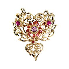 Beautiful Christian Lacroix Gold Jeweled Heart Crescent Large Brooch Pin | From a unique collection of vintage brooches at https://www.1stdibs.com/jewelry/brooches/brooches/