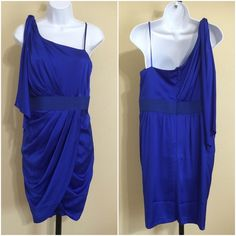 Cache Royal Blue Dress Size 12 Cache Women's Dress Size 12 Blue Color Rear Zip One Shoulder Strap With Sash Tie Elastic Waistband Pleated Wrap Front Dry clean 96% Polyester 4% Spandex Bust Approx. 36 Inches Waist Approx. 32 Inches Hips Approx. 40 Inches Length From Rear center Hem Approx. 28 Inches Sweep Approx. 36 Inches Please Measure To Ensure A Proper Fit MSRP $ 168.00 New With Tag Cache Dresses