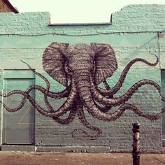 Insane elephant octopus art