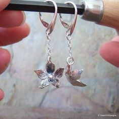Sterling silver, hand sawn and forged borage drop earrings Metal For Sale, Hand Saw, Bespoke Jewellery, Precious Metals, Sterling Silver Jewelry, Dawn, My Etsy Shop, Pendant Necklace, Drop Earrings