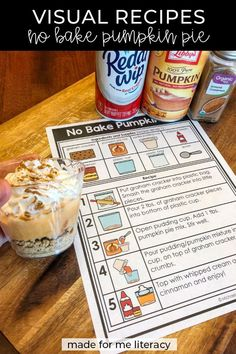 The October Made For Me Literacy unit includes No Bake Pumpkin Pie Visual Recipe and Reflection Sheet which would be a fun addition to you Thanksgiving activities. Cooking In The Classroom, Preschool Cooking, Preschool Schedule, No Bake Pumpkin Pie, Baked Pumpkin, Preschool Special Education, Teacher Education, Education Quotes, Physical Education