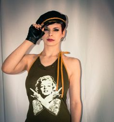 Tattoed Marilyn Monroe Army Halter Dress Marilyn Monroe, Captain Hat, Army, Trending Outfits, Unique, Clothes, Vintage, Dresses, Fashion