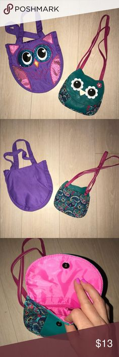 Set of Cute Owl Purses 🦉😍 - NWOT! 2 owl purses. Teal purse has a solid teal leather-like material, paired with an adorable floral print. Double Shoulder strap.  Purple handbag has details stitched on with teal glitter eyes. Lined inside. Accessories Bags