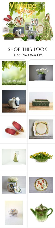 """Vintage Springs Eternal"" by vintageandmain ❤ liked on Polyvore featuring interior, interiors, interior design, home, home decor, interior decorating, The French Bee and vintage"