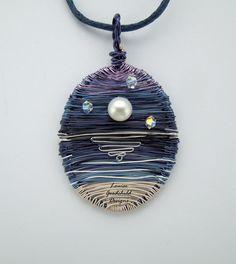 Moonlight pendant pendant seascape pendant MADE by LouiseGoodchild