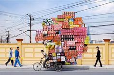 parcels on bike