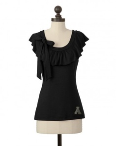 The Appalachian State University Ruffle Collar Top in Black. Also in Gold.