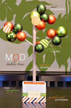 Mod Table Tree Centerpiece -- uses ball ornaments so you can change color themes for different holidays