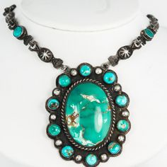 Antique C. 1920 Sterling Silver Navajo Pawn Native Royston Turquoise Necklace