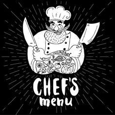 Logo Panaderia, Barber Logo, Barber Shop, Prepared Meal Delivery, Buffalo Logo, Chef Tattoo, Chef Grill, Pizza Branding, Beard Logo