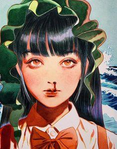 Untitled, Little Thunder, Water Color, 2019 : Art Pretty Art, Cute Art, Aesthetic Art, Aesthetic Anime, Manga Art, Anime Art, Art Sketches, Art Drawings, Matou