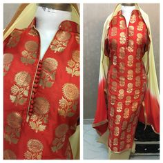 Red Colored Charismatic Designer Silk Suit With Chiffon Dupatta Salwar Suit Neck Designs, Salwar Designs, Dress Neck Designs, Blouse Designs, Indian Wedding Outfits, Indian Outfits, Indian Attire, Indian Wear, Long Kurtis With Pants