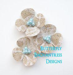 Burlap and Lace Hair Flowers, Wedding Hair Accessories, Bridal Hair Combs - Lace Burlap Hydrangea - Pale Aqua Turquoise Blue Pearl, $32.99